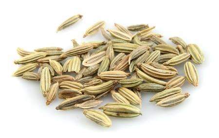 fennel seed: Fennel seeds  on a white background Stock Photo