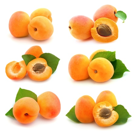 Collage of sweet apricots on white Stock Photo