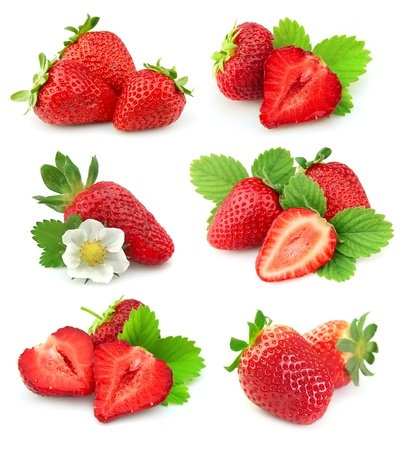 fresh strawberries: collection of strawberry fruits on white background