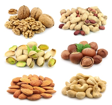 Collage of nuts: walnuts,filbert,peanut,almonds,pistachios,cashew