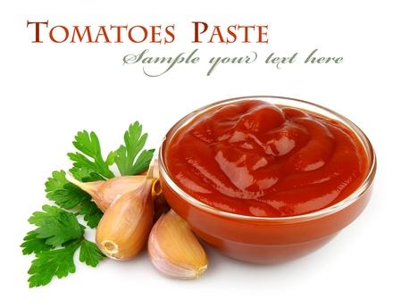 sauce tomate: Tomates coller avec les �pices et les l�gumes verts Banque d'images