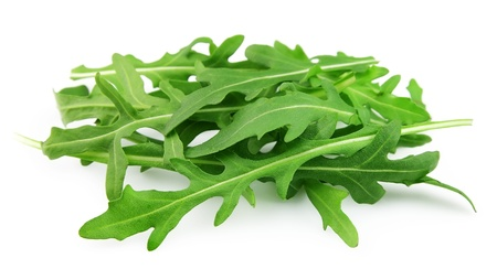 edible leaves: Rucola leaves isolated on white