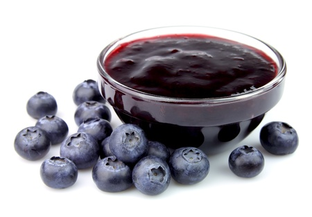blackberries: Blueberry with sweet blueberry jam on white