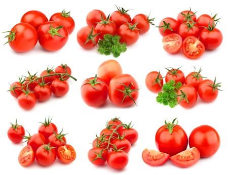 health collage:  sweet tomatoes on white