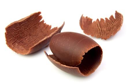 chocolate curls: Chocolate curls on white close up Stock Photo