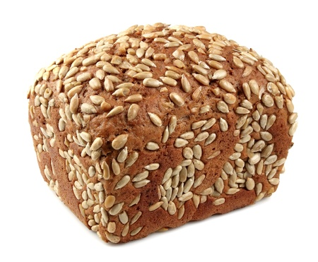 Fresh bread with sunflower seeds on a white background photo