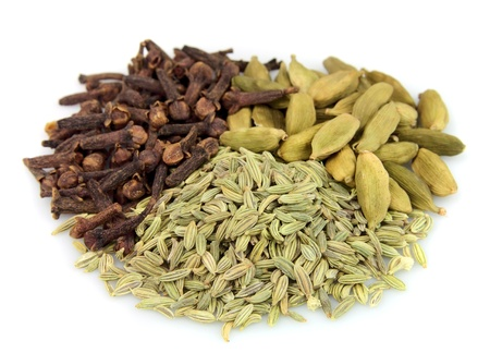 Dried spice of cardamom,fennel seeds and cloves