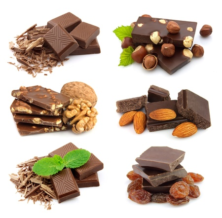 filbert nut: Collage of sweet chocolate on the white