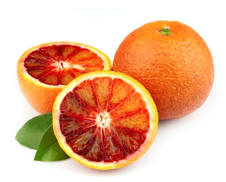 Ripe red orange on a white background  Stock Photo