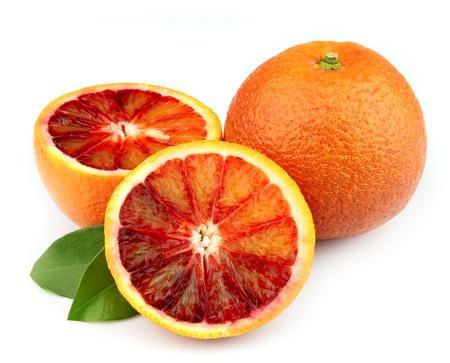 Ripe red orange on a white background  Stock Photo