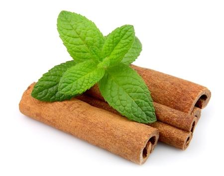 cinnamon bark: Cinnamon bark and fresh mint on a white background
