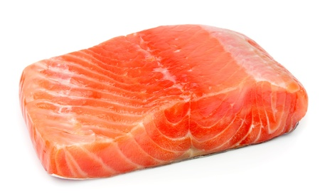 rout: piece of red fish fillet  on white  Stock Photo