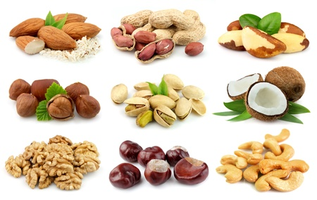 nut shell: Collection of nuts  almonds,coconut,,peanut,brazilian nut,chestnut,filbert,cashew,walnut,pistachios Stock Photo