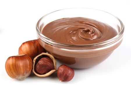 Hazelnut cream with hazelnut nuts  Stock Photo