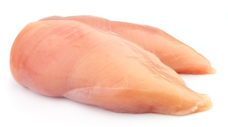 raw chicken fillets close up on white  Stock Photo