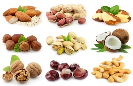 Collection of nuts  almonds,coconut,,peanut,brazilian nut,chestnut,filbert,cashew,walnut,pistachios