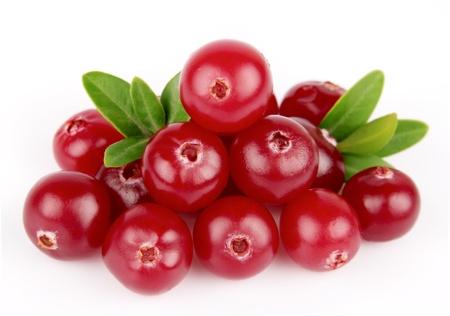 arandanos rojos: Ar�ndanos dulces con hojas de cerca en blanco