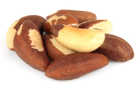 Brazil nuts on white close up Stock Photo - 13820856