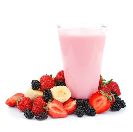 Fresh fruits and smoothies on white  photo