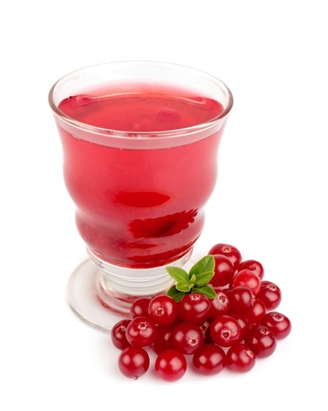 Glass of cranberry juice isolated on white