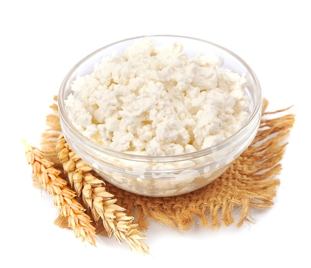 cottage cheese: fresh cottage cheese with wheat on white Stock Photo