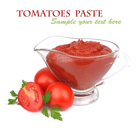 tomato catsup: Tomatoes paste with greens on white
