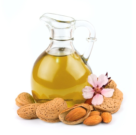 almond oil isolated on white background  photo