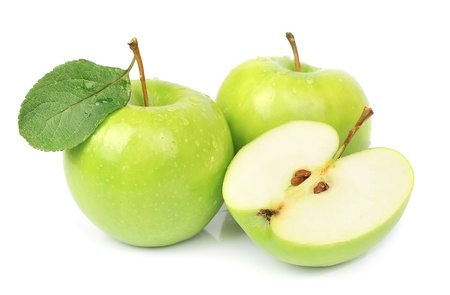 Ripe apples and cut apples on white Stock Photo - 15466766