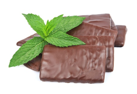 chocolate mint: Mix chocolate and mint close up on white