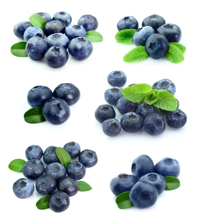 food collage: Collage of blueberries on white
