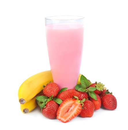strawberry smoothie: Fresh fruits with bananas and smoothies on white  Stock Photo