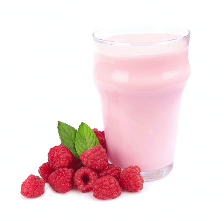 nutritive: Fresh fruits and smoothies on white  Stock Photo