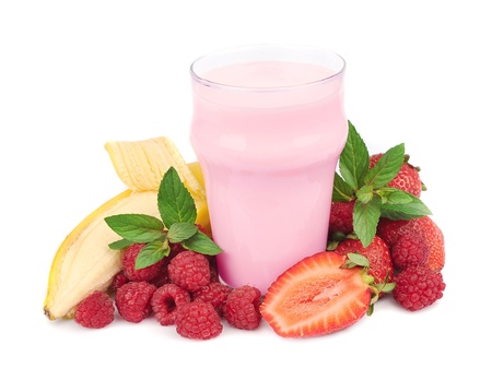 Fresh fruits with bananas and smoothies on white  photo