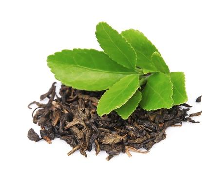 green tea leaf: dry tea with green tea leaves on white