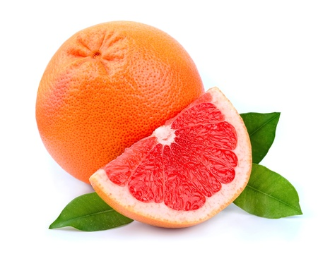 grapefruit: Grapefruit with leaves on white close up