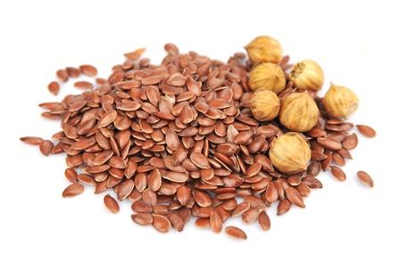 usitatissimum: Flax seeds on a white background