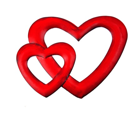 two hearts: Red hearts over white background  Love symbol