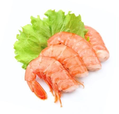 jumbo shrimp: shrimps close up on white