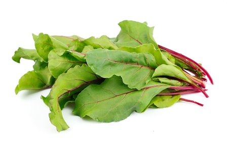 green and purple vegetables: Sweet beet leafs mangold  on white