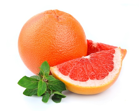 fresh grapefruit fruit with mint