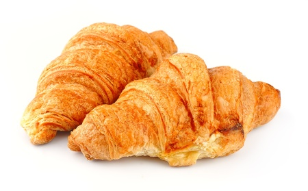 french roll: Fresh croissants on white background  French roll
