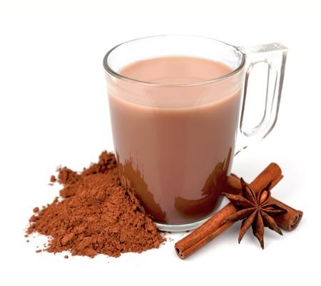alimentos y bebidas: Cocoa bebida con leche de chocolate picante especias
