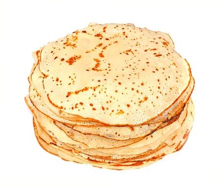 pancake week: Pancakes close up on white