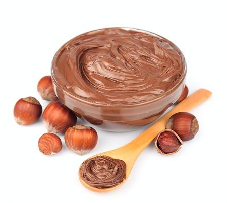 nutritive: Hazelnut cream with hazelnut nuts  Stock Photo