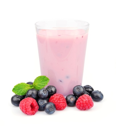 nutritive: Fresh smoothies with  berries on white background
