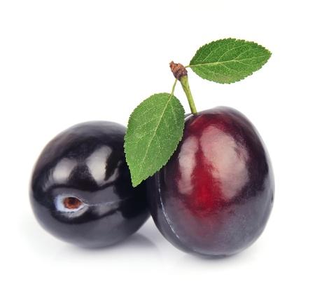 Sweet plums  fruit on white closeup  Stock Photo