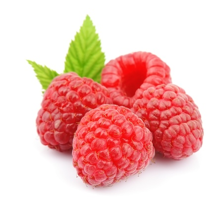 Ripe raspberries isolated on white background Stock Photo - 21580175