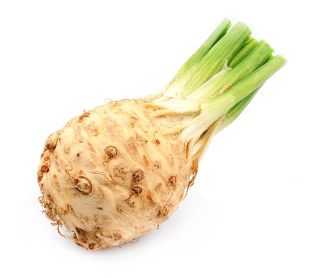 Fresh celery with root leaf on white background
