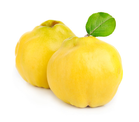 membrillo: Membrillo dulce con hojas de cerca en blanco