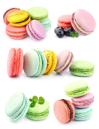 Set of macaroons . Dessert on white photo
